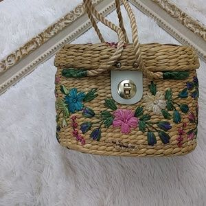 Vintage Straw Purse Floral Embroidery Lined GUC
